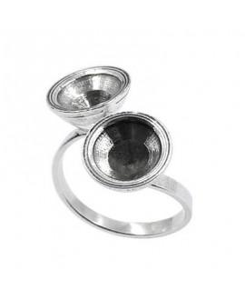Anillo para dos perlas o cristales SWAROVSKI 1028, SS45, 9.85-10.19mm , latón baño de plata, ajustable
