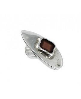 Cierre botón alargado con esmalte marrón 20x12mm paso 4mm, zamak baño en plata