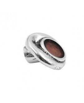 Cierre botón alargado con esmalte marrón 19x5mm paso 4mm, zamak baño en plata