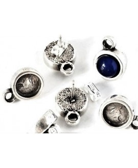 Pendientes con anilla para cabujón de 7,2mm, zamak baño de plata, precio por par