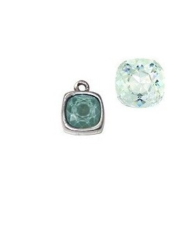 Colgante 13x16mm con Swarovski  LIGHT MINT GREEN paso 1,3mm, zamak baño de plata