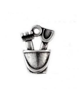 Colgante cubo 15mm paso 1,5mm, zamak baño de plata