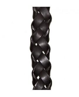 Cuero trenza BRUCIATO 15mm marrón, precio por 20cm, alta calidad