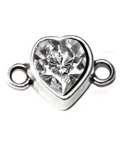 Corazón 14x22mm paso 2,8mm con cristal Swarovski, zamak baño de plata