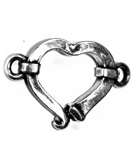 Corazón 48x36mm paso 4mm, zamak baño de plata