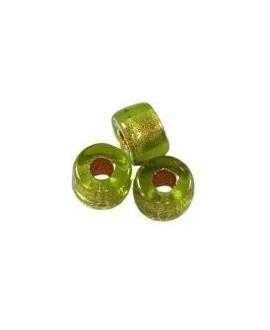 Cuenta cristal checo loops verde menta 6 mm paso 2,4mm, precio por 25 unidades