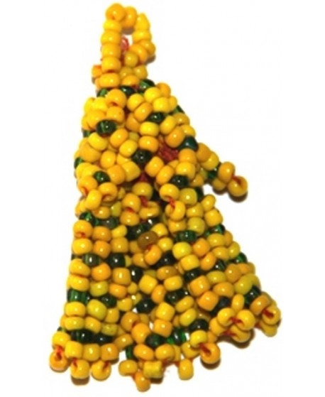 Borla tribal kuchi con cuentas amarillas, 6cm