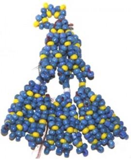 Borla tribal kuchi con cuentas azules, 7,5cm