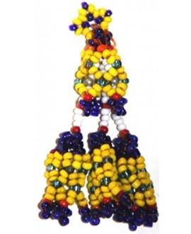 Borla tribal kuchi con cuentas colores, 7,5cm