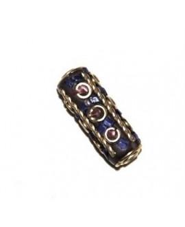 Cuenta  Tibetana bronce, lapislázuli  y coral  25x15x8mm paso 1,5mm.