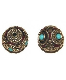 Cuenta  Tibetana bronce, turquesa  y coral  15mm paso 1,5mm.