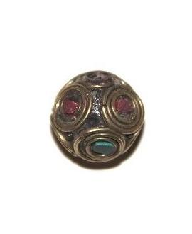 Cuenta  Tibetana bronce, turquesa  y coral  17mm paso 1,5mm.