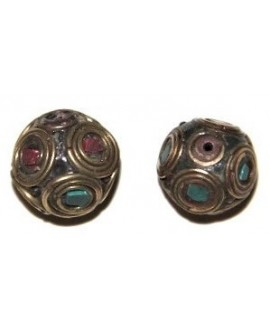 Cuenta  Tibetana bronce, turquesa  y coral  17mm paso 1,5mm.