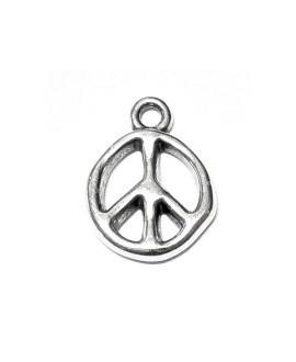 Colgante simbolo de la paz 18x13mm paso 2,2mm, zamak baño de plata