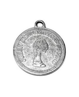 Colgante moneda 19mm paso 2mm, zamak baño de plata
