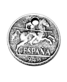 Colgante moneda 23mm paso 3mm, zamak baño de plata