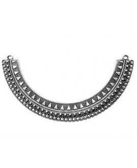 Medio collar 53 anillas 117x17mm paso los 2 de arriba 2.6mm - los 51 de abajo 1.2mm, zamak baño de plata