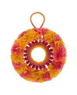 Colgante/medallón con espejo 11,5cm, rosa-amarillo