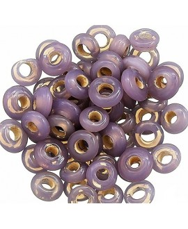 Rondel cristal indio lila 7x4mm paso 2mm, precio por 50 unidades