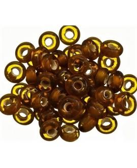 Rondel cristal indio marrón 7x4mm paso 2mm, precio por 50 unidades