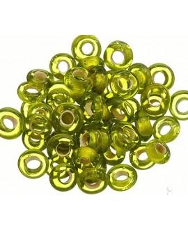 Rondel cristal indio verde transparente 7x4mm paso 2mm, precio por 50 unidades