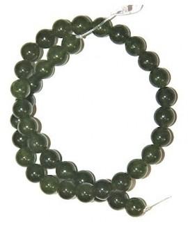 Cuentas jade verde 10mm paso 1mm, precio por ristra 40 cm