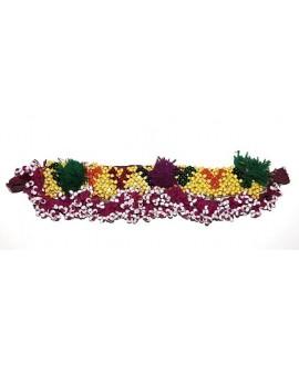 Parche kuchi alargado con pompones, largo 15,5cm, ancho 4cm
