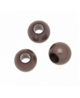Cuenta resina marrón visón 8mm paso 3,5mm, precio por 20 unidades