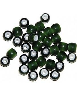 Cuentas de Lampwork hechas a mano verde 6,5/8,5x5/6mm paso 2mm, precio por 20 unidades, hecho a mano