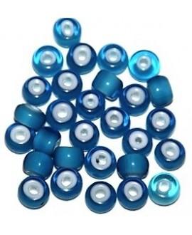 Cuentas de Lampwork hechas a mano azul 6,5/8,5x5/6mm paso 2mm, precio por 20 unidades, hecho a mano