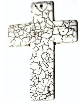 Colgante cruz HOOLITA blanca 90x60mm, paso 1mm