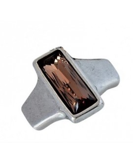 Entrepieza para  pulsera 42x35mm paso 10x2,5mm, Zamak baño de plata/SWAROVSKI  color Light Smoked Topaz