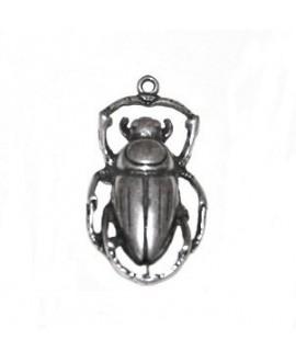 Colgante escarabajo egipcio de la suerte 50x28x8mm paso 2,5mm, zamak baño de plata