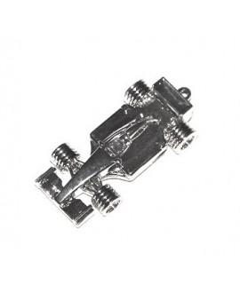 Colgante coche fórmula 1, 55x22x12mm paso 2,5mm, zamak baño de plata