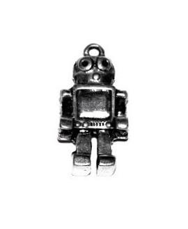 Colgante robot 42x22x8mm paso 3mm, zamak baño de plata