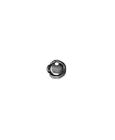 Colgante moneda irregular 12mm paso 2mm, zamak baño de plata