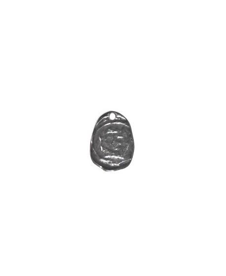 Colgante moneda irregular 20x14mm paso 1mm, zamak baño de plata