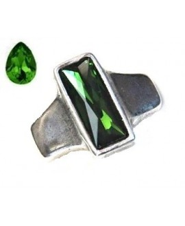 Entrepieza para  pulsera 42x35mm paso 10x2,5mm, Zamak baño de plata/SWAROVSKI  color GREEN