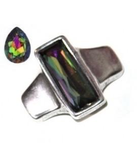 Entrepieza para  pulsera 42x35mm paso 10x2,5mm, Zamak baño de plata/SWAROVSKI  color crystal vitrail medium