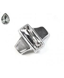 Entrepieza para  pulsera 42x35mm paso 10x2,5mm, Zamak baño de plata/SWAROVSKI  color crystal