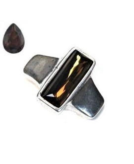 Entrepieza para  pulsera 42x35mm paso 10x2,5mm, Zamak baño de plata/SWAROVSKI  color Smoked Topaz