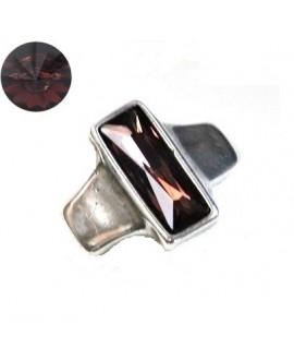 Entrepieza para  pulsera 42x35mm paso 10x2,5mm, Zamak baño de plata/SWAROVSKI  color burgundy