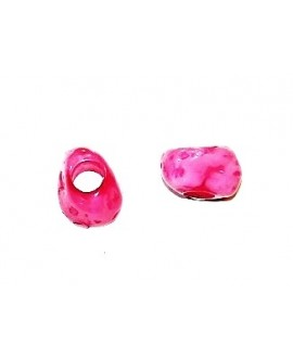 Cuenta resina irregular efecto aguas blancas 10x15mm, paso hasta 4mm, rosa