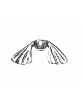 Entre-pieza aleta pequeña 30mm ancho paso 2mm, zamak baño de plata