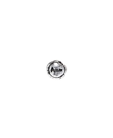 Colgante moneda irregular amor 12mm paso 2mm, zamak baño de plata