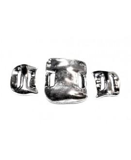 Pulsera tres  pieza 35x30mm pieza central y 20x20mm laterales paso 10mm, zamak baño de plata (precio por tres piezas)