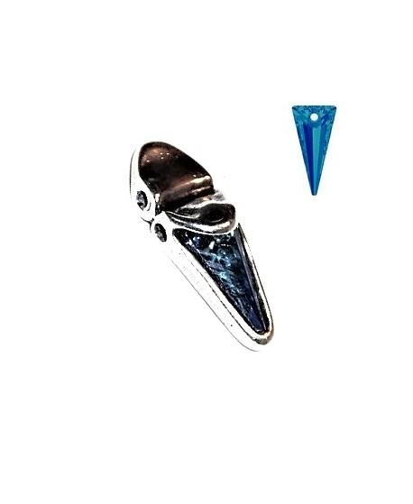 Colgante/entre-pieza 35x15mm paso 2mm, zamak baño de plata/swarovski crystal Bermuda Blue