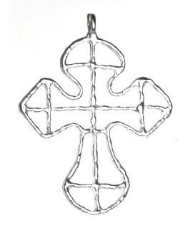 Colgante cruz 80x60mm paso 4mm, peltre plata mate