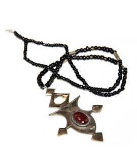 Collar cruz tuareg, con piedra semi preciosa largo 40cm