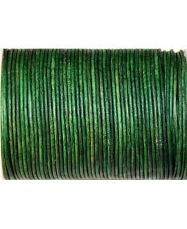 Cuero redondo 2mm, verde. Calidad superior, precio por metro